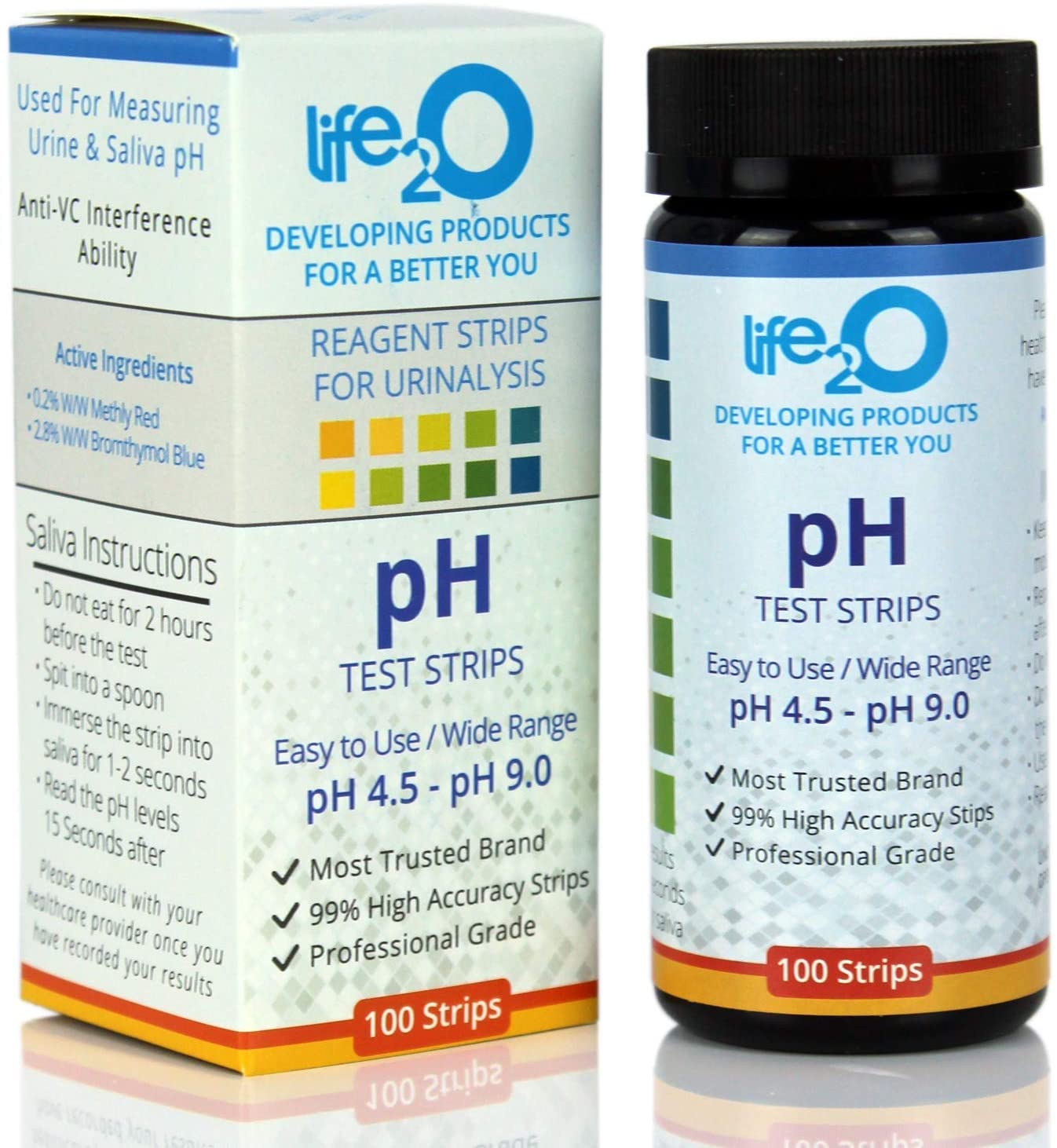 pH Test Strips for Urine & Saliva 100ct   Alkalinity & Acidity Testing Strips to Test Body pH Blanace & Levels   Plan a Healthy Diet & Monitor The Food Intake with Our Urinalysis Urine pH Testing Kit