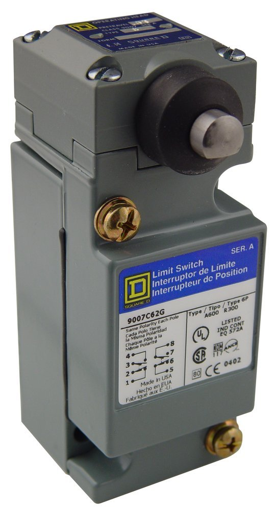 Square D 9007C62G Heavy Duty NEMA Limit Switch, Standard Operation, 2 Pole, Side Push Plunger Head