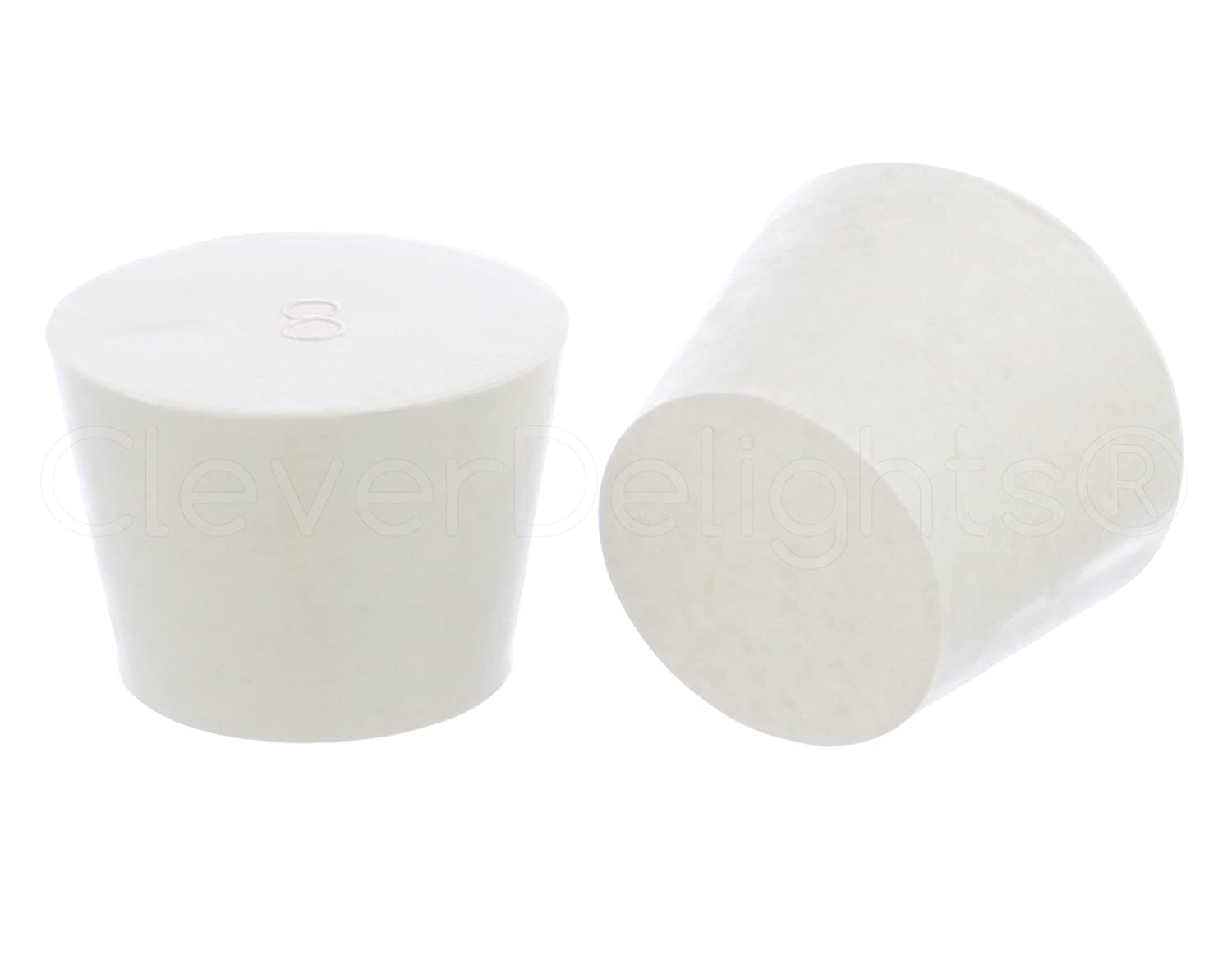 3 Pack - CleverDelights Solid Rubber Stoppers | Size 8 | 42mm x 32mm - 30mm Long - White Lab Plug #8