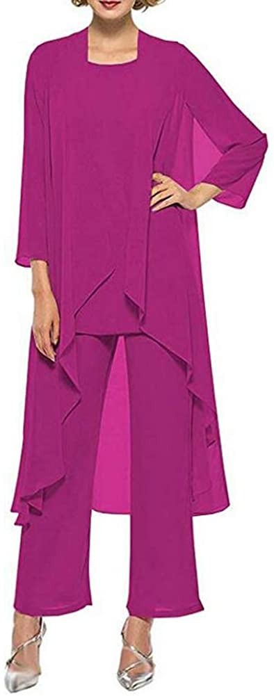 Women's Three-Pieces Fuchsia Chiffon Mother of The Bride Dress Pants Suits Prom Gown US16W