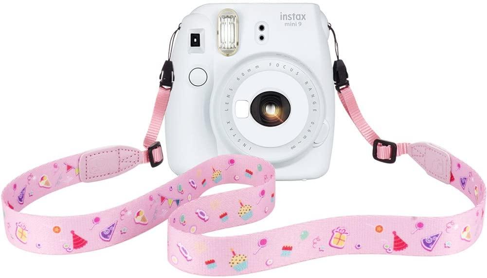 Elvam Camera Neck Shoulder Belt Strap for Men/Women Compatible with Fujifilm Instax Mini 11/9/8/8+/7s/25/50/90/300/ Paloraid Instant Camera/DC/DSLR/SLR Etc Camera, (Pink Pattern)