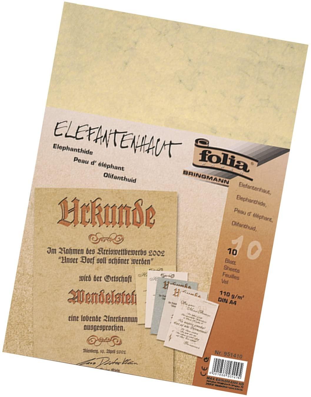 Bringmann Folia 951410–Elephant Skin, 110g/m², DIN A4, 10Sheets Chamois