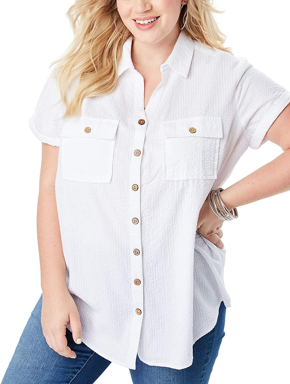 Roamans Women's Plus Size Seersucker Shirt