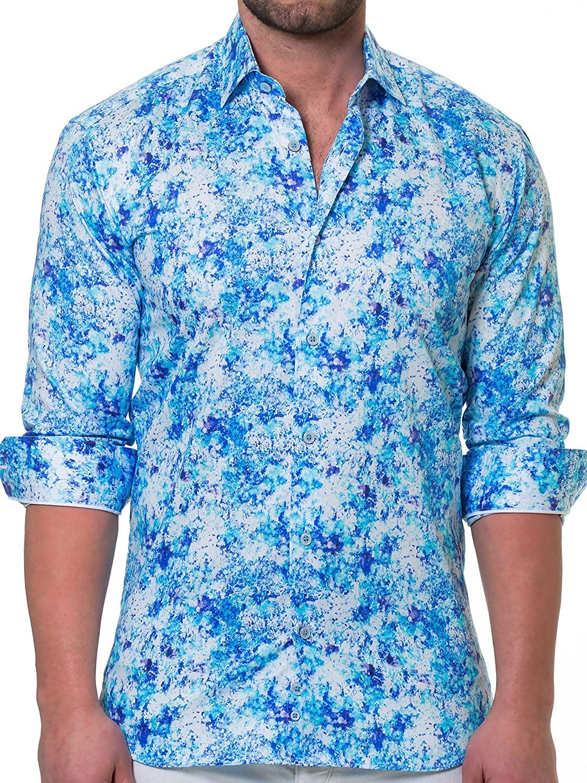 Maceoo Mens Designer Dress Shirt - Stylish & Trendy- Luxor Noisey Blue