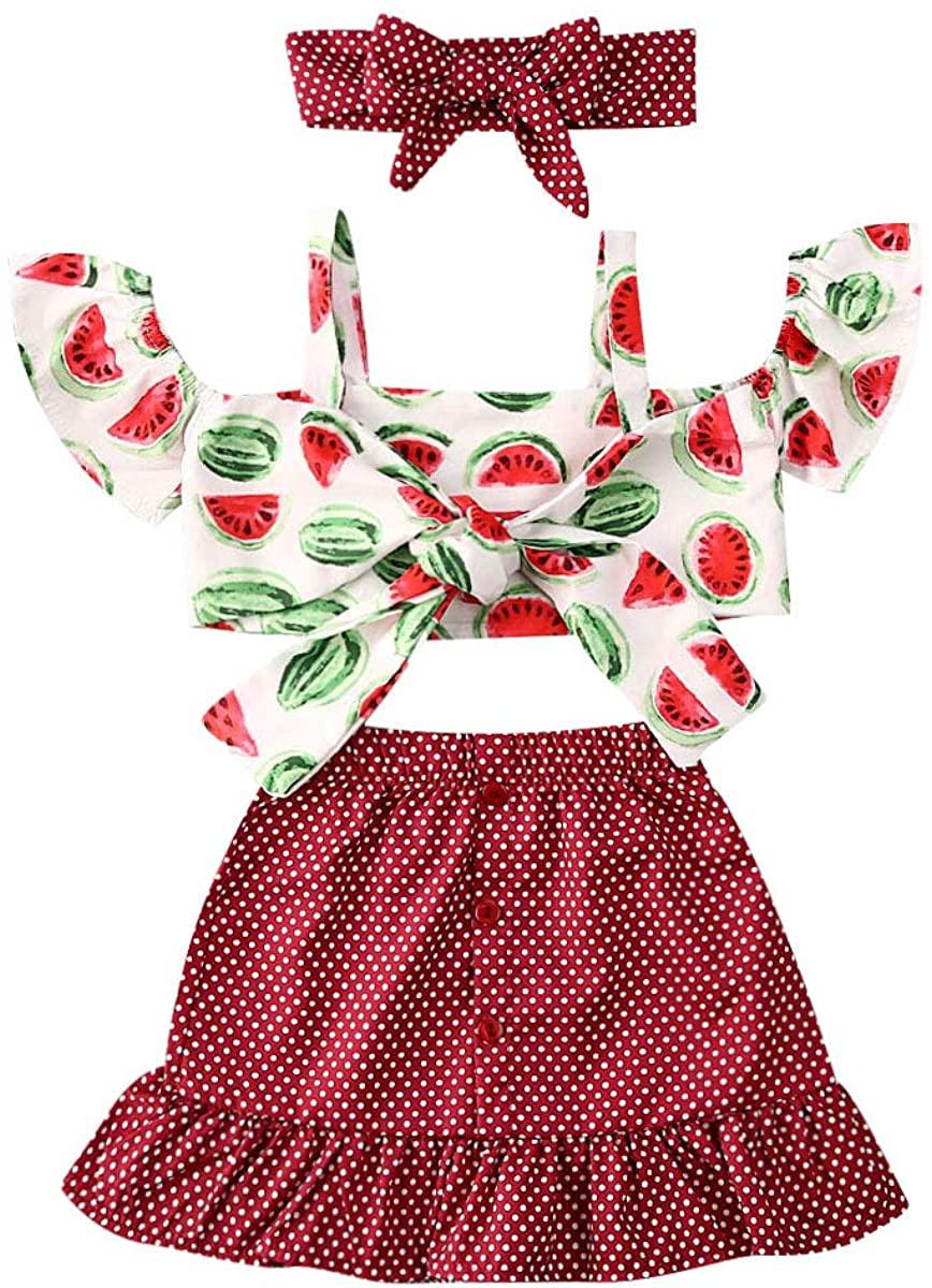 3Pcs Toddler Kids Watermelon Set Clothes Cotton Summer Baby Girls Off Shoulder Tops+Polka Dots Skirrts Outfits 1-5Yrs