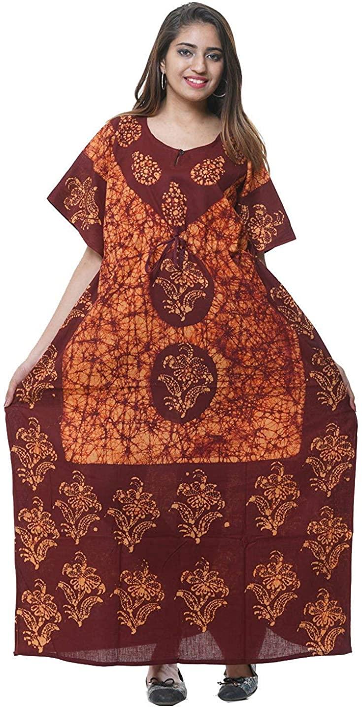 Odishabazaar Batik Floral Boho Long Caftan/Kaftan Women Casual Maxi Plus Size Long Dress Gown