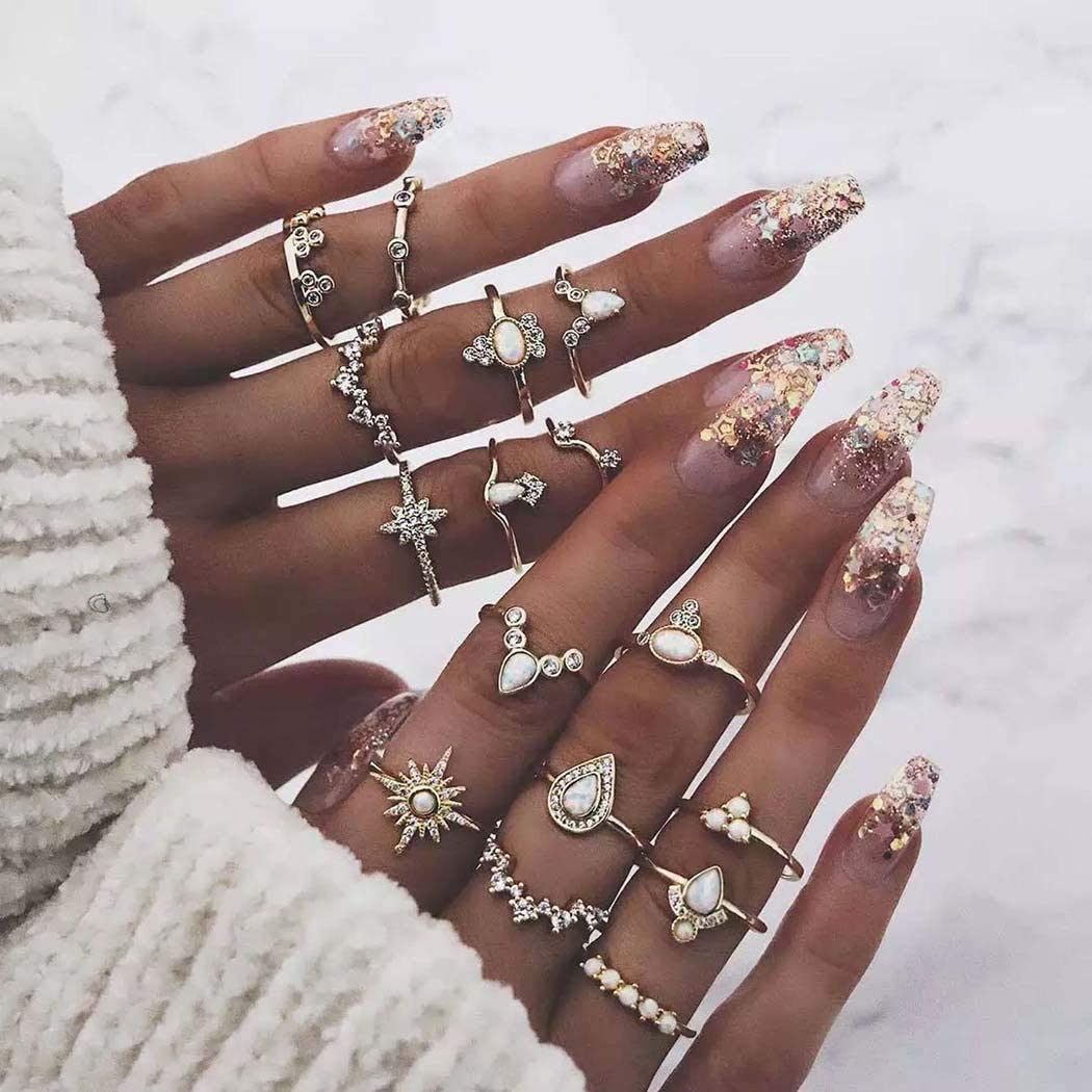 Derora Boho Ring Crystal Joint Ring Sets Gold Flower Sun Knuckle Finger Rings Jewelry for Women and Girls