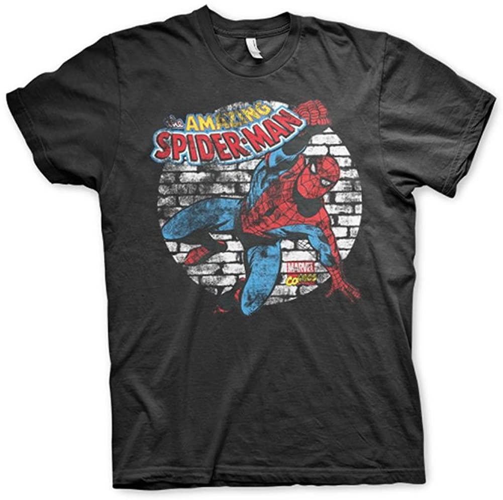 Marvel Officially Licensed Comics Distressed Spider-Man 3XL,4XL,5XL Mens T-Shirt (Black)