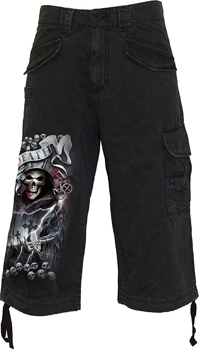 Spiral - Life and Death Cross - Vintage Cargo Shorts 3/4 Long Black
