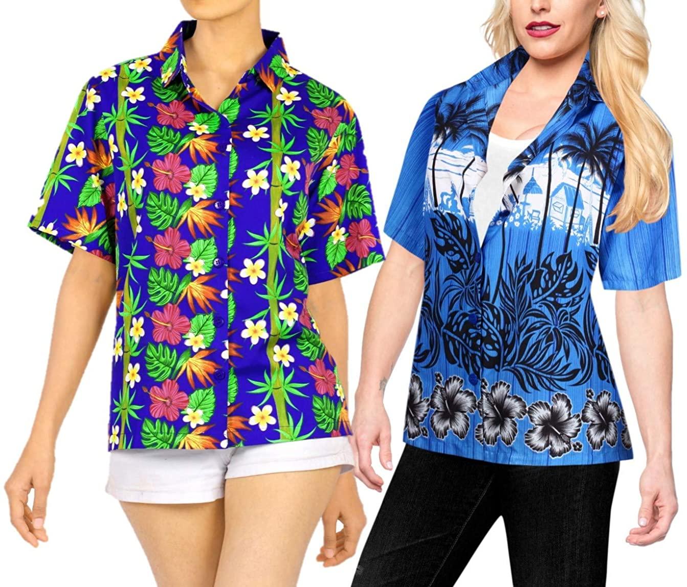 LA LEELA Women's Beach Hawaiian Shirt Office Wear Short Sleeve Shirts Work from Home Clothes Women Beach Shirt Blouse Shirt Combo Pack of 2 Size S