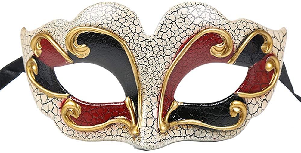 BLEVET Venetian Masquerade Mask for Child Musical Cosplay Party Halloween Carnivals Mardi Gras Masks BK017 (Red)