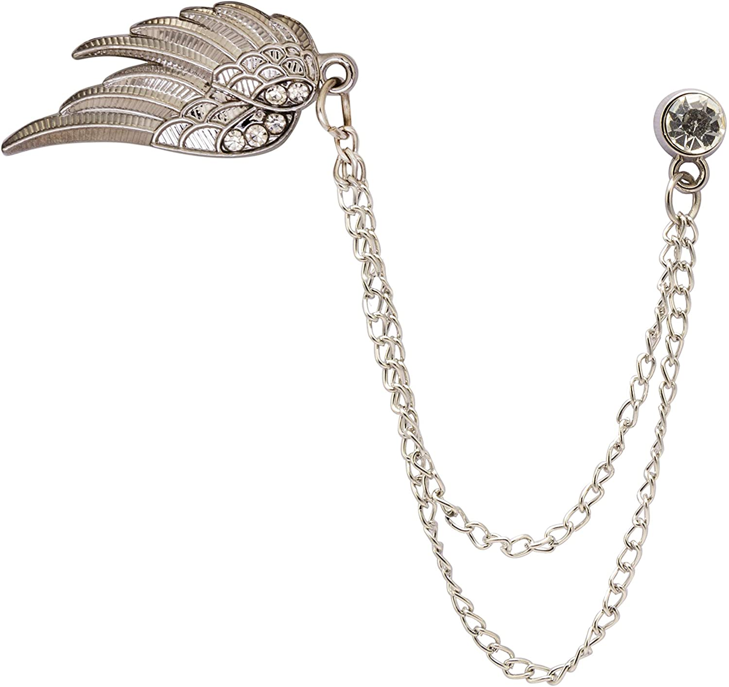 A N KINGPiiN Lapel Pin for Men Angel Wings with Crystal Hanging Chain Brooch Suit Stud, Shirt Studs Men's Accessories (Silver)