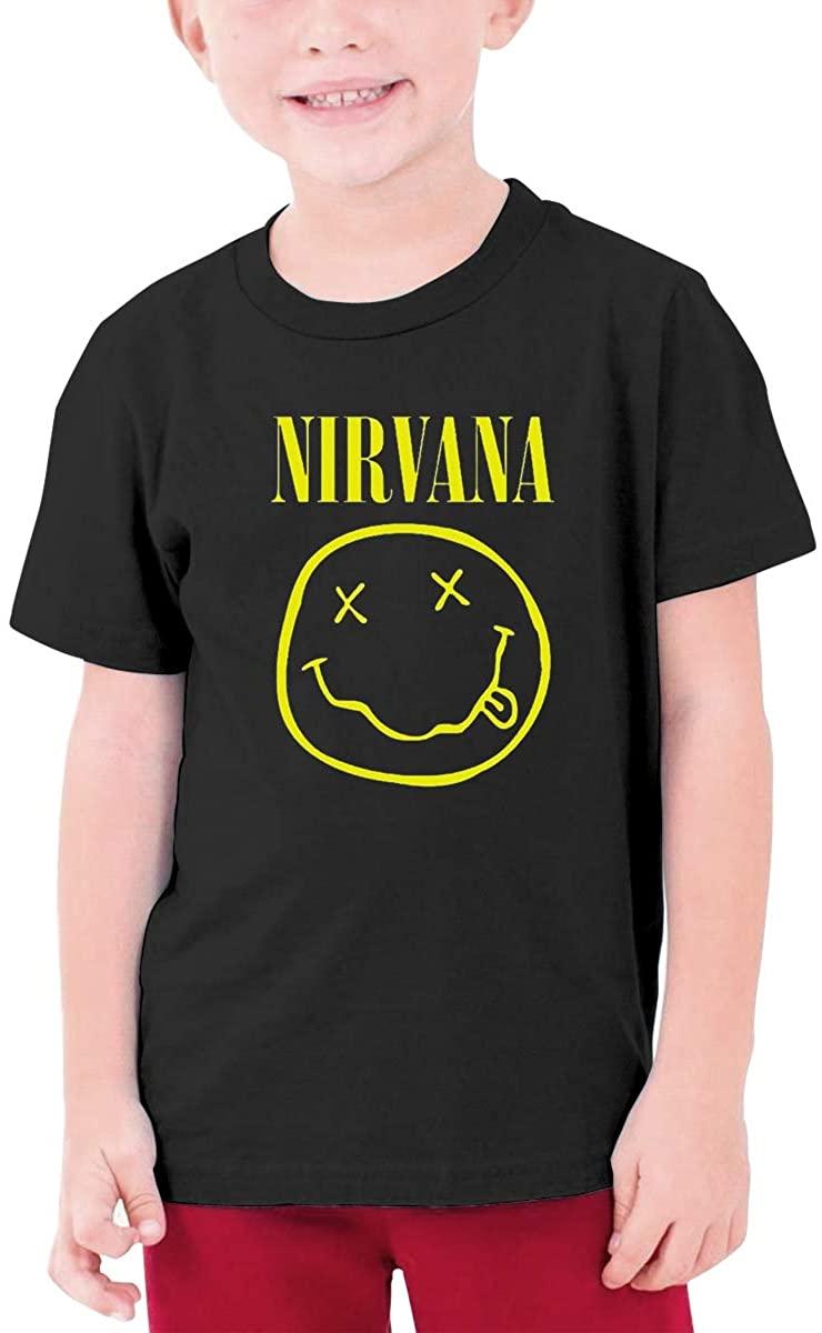 Teens Round Neck T-Shirt Vintage Unique Nirvana Smiley Logo Black
