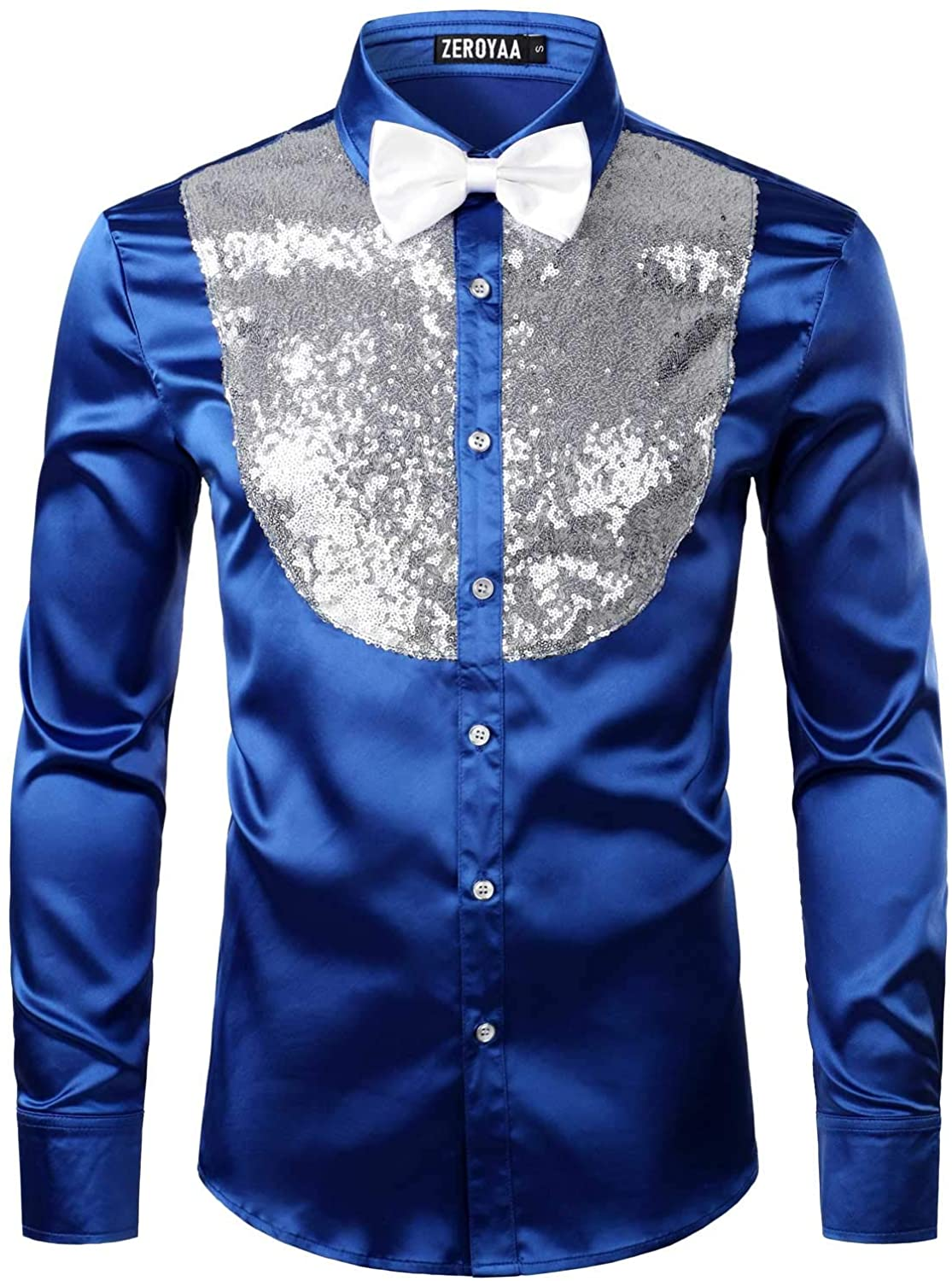 ZEROYAA Men's Shiny Sequins Design Silk Like Satin Button Up Disco Party Dress Shirts with Bow Tie