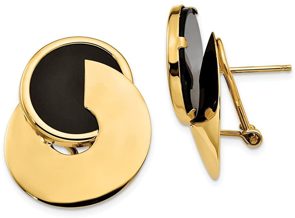 Beautiful Yellow gold 14K 14k Onyx Fancy Earrings