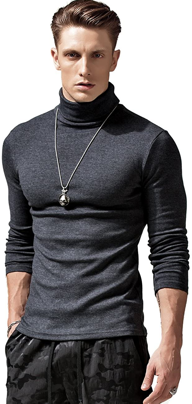 XSHANG Mens Long Sleeve Athletic Turtleneck Stretchy Slim Fit Warm Thick Sweater T Shirts