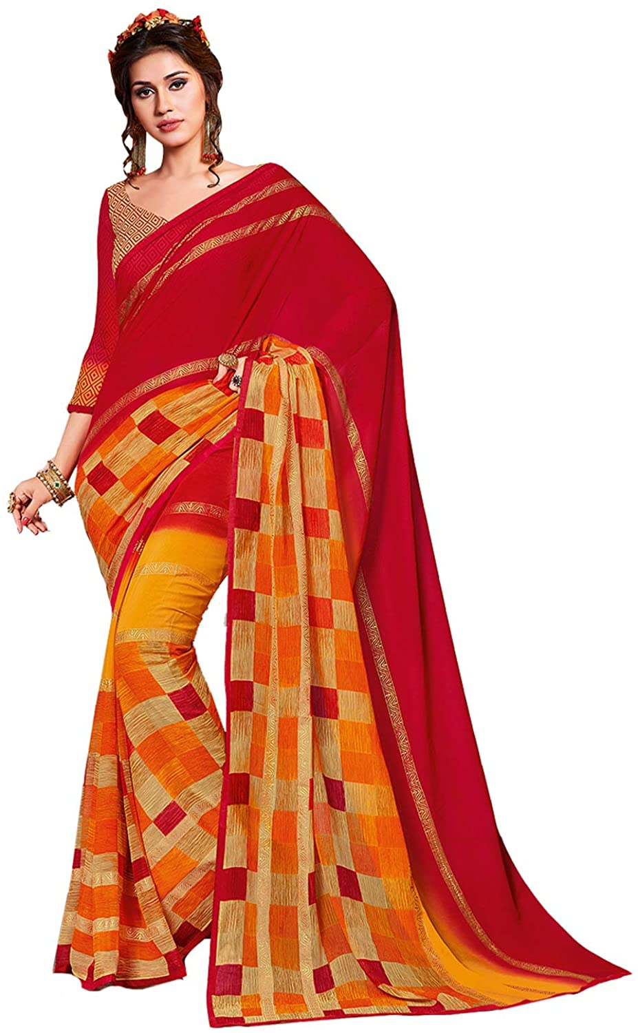 Saree for Women Bollywood Wedding Designer Multi Sari with Unstitched Blouse. ICW2610-3