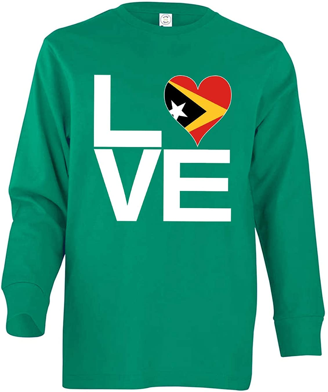 Tenacitee Girl's Youth Love Block Timor-Leste Heart Long Sleeve T-Shirt