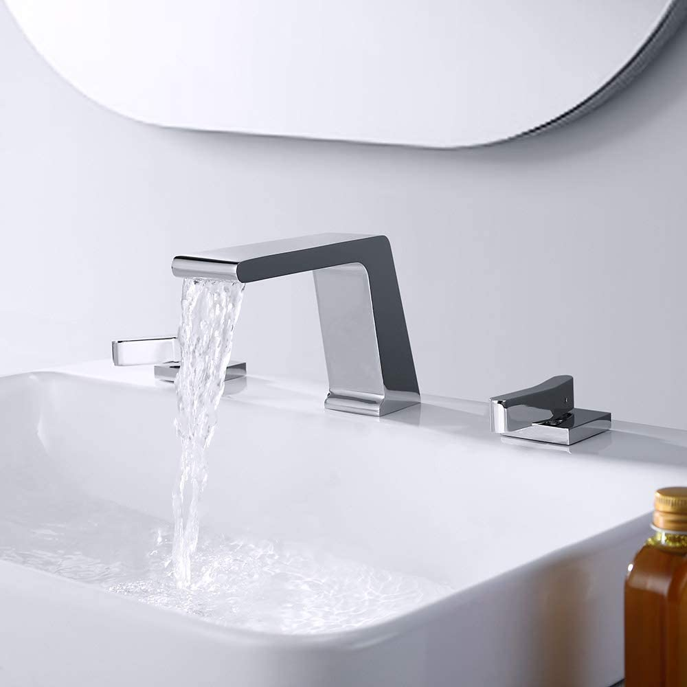 BULUXE Waterfall Widespread Bathroom Sink Faucet, Contemporary Waterfall 3 hole Double-Handle Bathroom Sink Faucet Solid Brass (Chrome)
