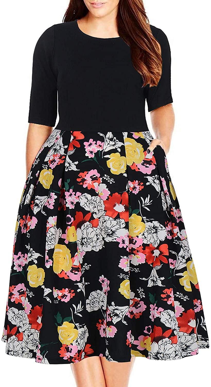 Nemidor Women's Floral Print Vintage Style Plus Size Swing Casual Party Dress (20W, Colorful Flower)