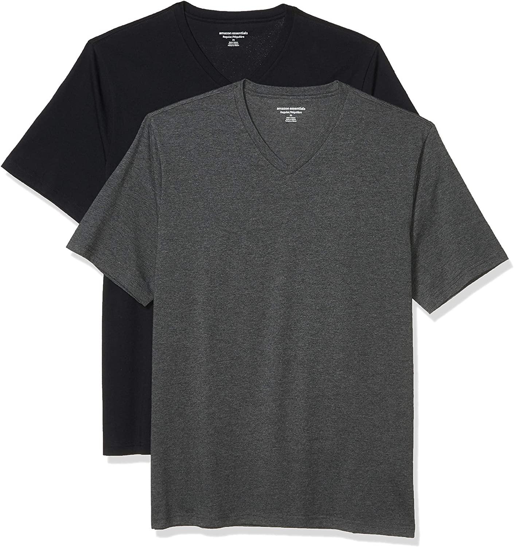 DHgate Essentials Men's 2-Pack Loose-Fit Short-Sleeve V-Neck T-Shirt