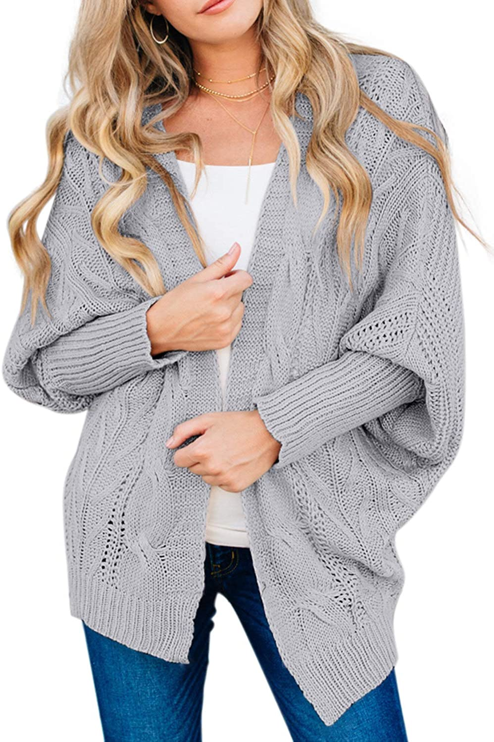 Acelitt Women Casual Winter Button Down Ribbed Open Front Knit Sweater Cardigan with Pockets,S-XXL