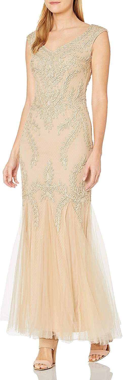 Cachet Women's V Neck Ribbon Lace Gown