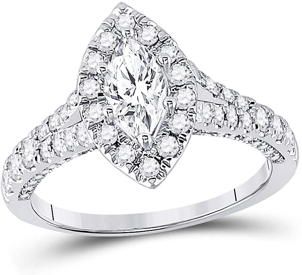 Dazzlingrock Collection 14kt White Gold Marquise Diamond Halo Bridal Wedding Engagement Ring 1-1/4 Cttw