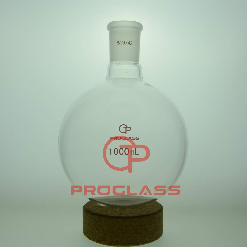 Proglass Glass Single Neck Round Bottom Boiling Flask 1000mL with 29/42 Joint