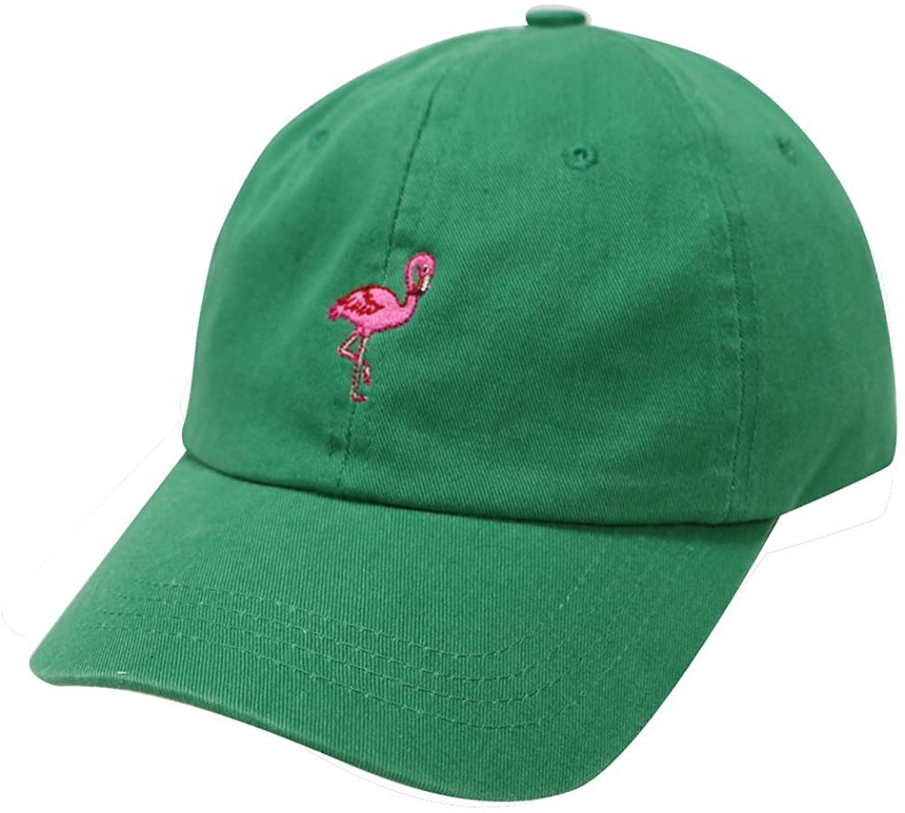 City Hunter C104 Flamingo Small Embroidery Cotton Baseball Cap 13 Colors (Kelly Green)