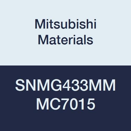 Mitsubishi Materials SNMG433MM MC7015 Coated Carbide SN Type Negative Turning Insert with Hole, MM Breaker, Square, Grade MC7015, 0.5
