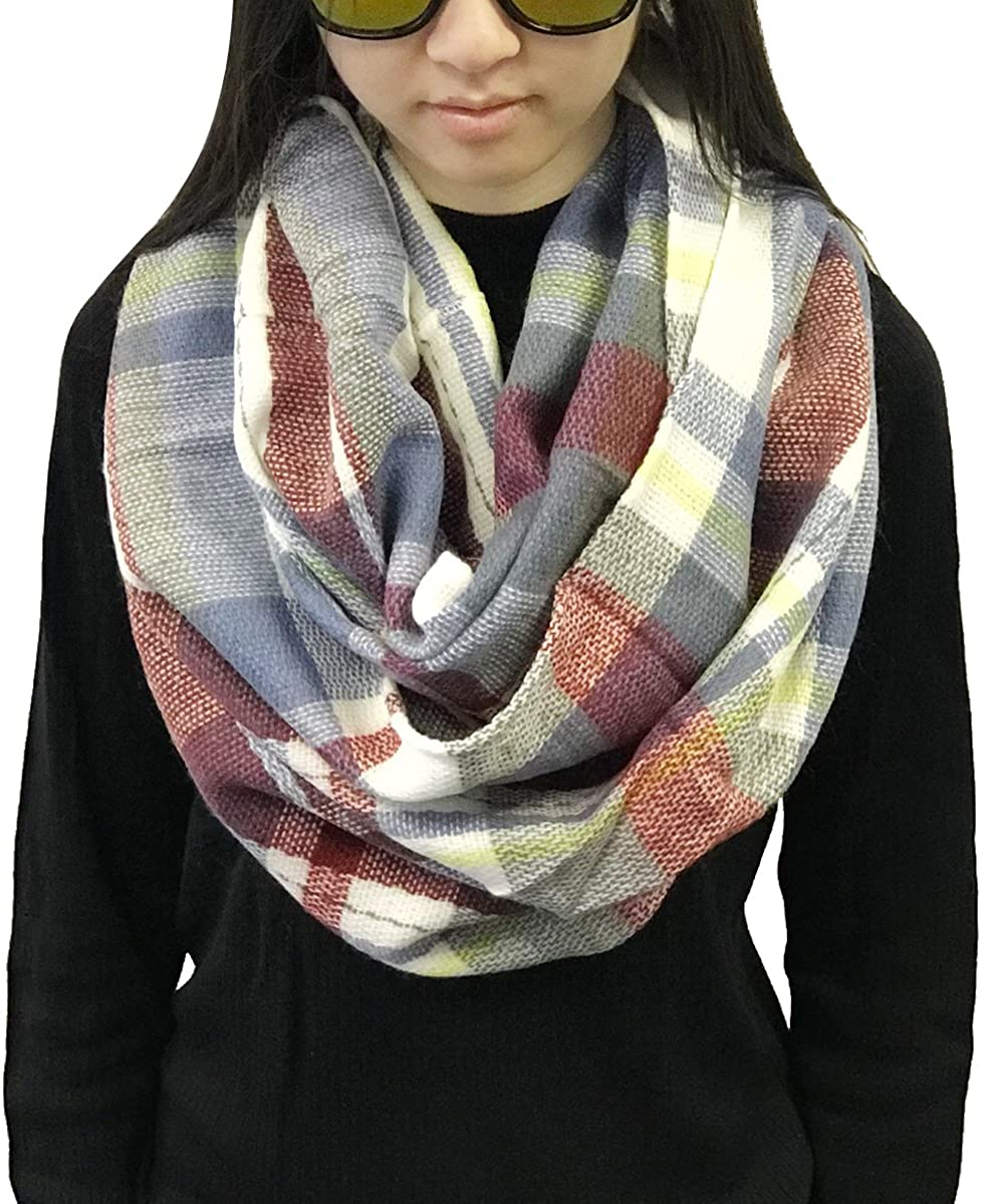 Wrapables Plaid Print Infinity Winter Scarf, Gray and Wine