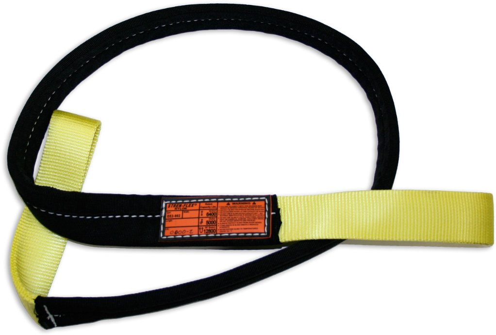 Stren-Flex EEF2-904CB-14 Type 3 Heavy Duty Nylon Flat Eye and Eye Web Sling with Wrapped Body, 2 Ply, 12,000 lbs Vertical Load Capacity, 14 Length x 4 Width, Yellow
