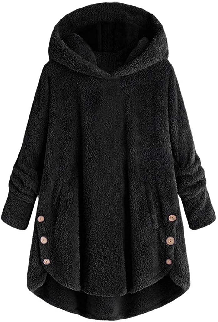 LATINDAY ✦ Hoodies Outerwear Sweatshirt Coat Women Plus Size Button Plush Tops Hooded Loose Cardigan Wool Coat Winter Jacket