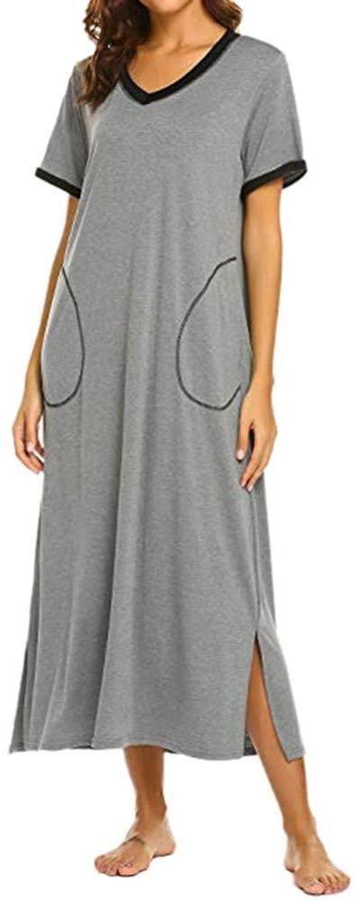 FLLLYQ Dress for Women,Summer Style Womens Dresses Nightshirt Short Sleeve Casual Nightgown Baggy Ultra Soft Full Length Sleepwear Dress