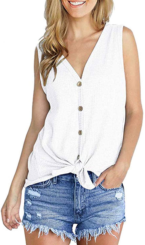 Aranmei Women's Sleeveless Button Down Shirts V Neck Tank Tops Waffle Kint Tie Front Shirt