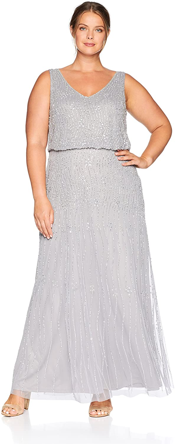 Adrianna Papell Women's Plus Size Allover Beaded Sleeveless Blouson Mermaid Gown