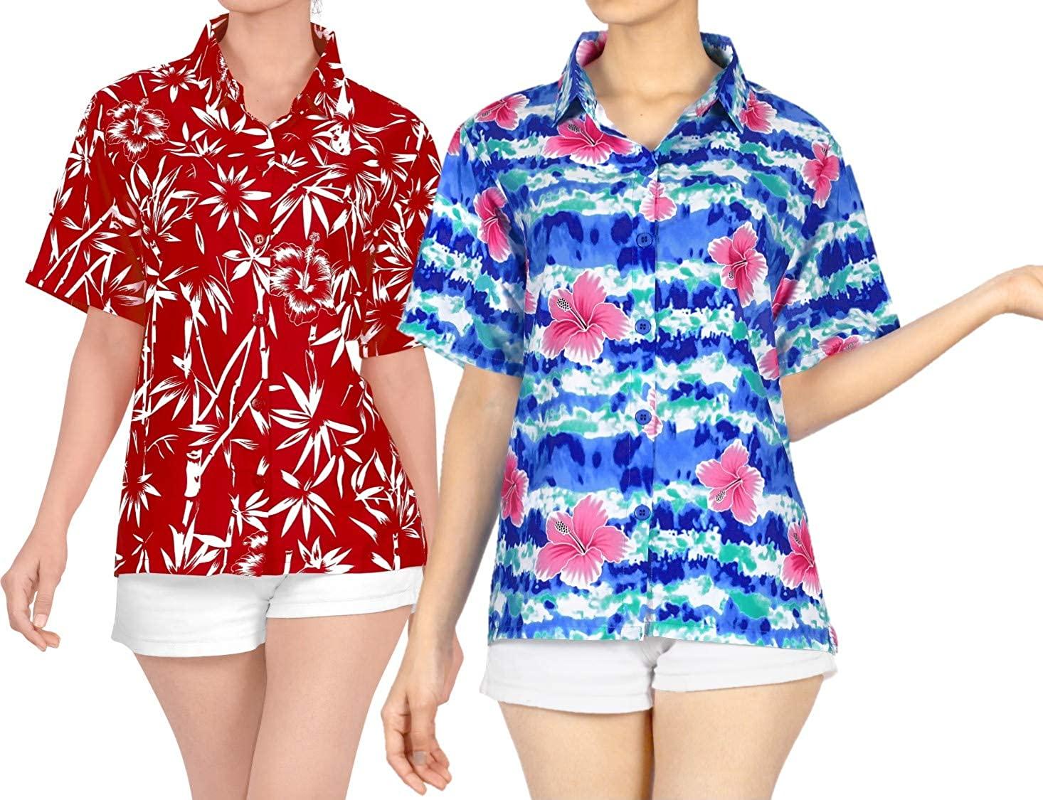 LA LEELA Women's Plus Size Golf Hawaiian Shirt Beach Camp Aloha Shirt Work from Home Clothes Women Beach Shirt Blouse Shirt Combo Pack of 2 Size XL