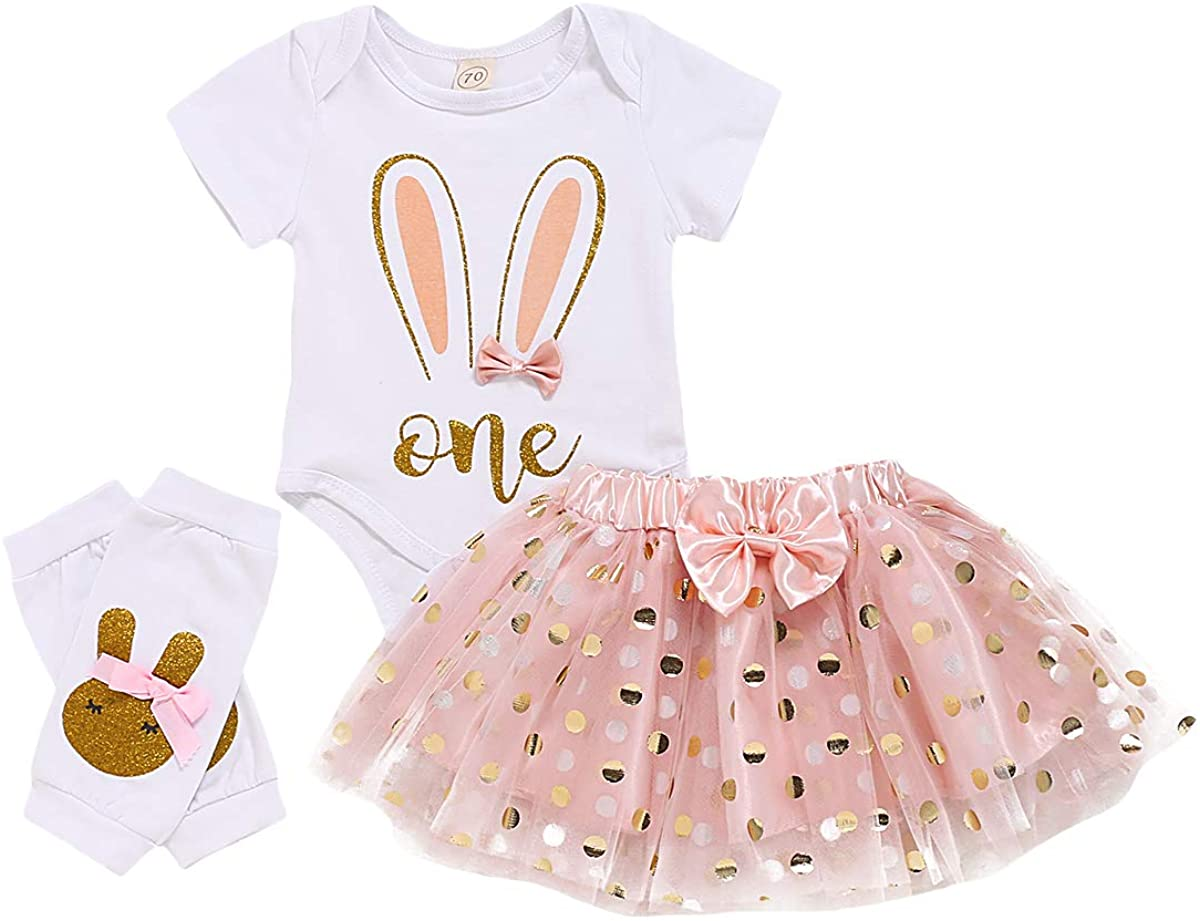 Newborn Baby Girl Easter Dress Outfit Short Sleeve Bunny Ear One Romper Bodysuit Pink Golden Dots Tutu Skirt Leg Warmers
