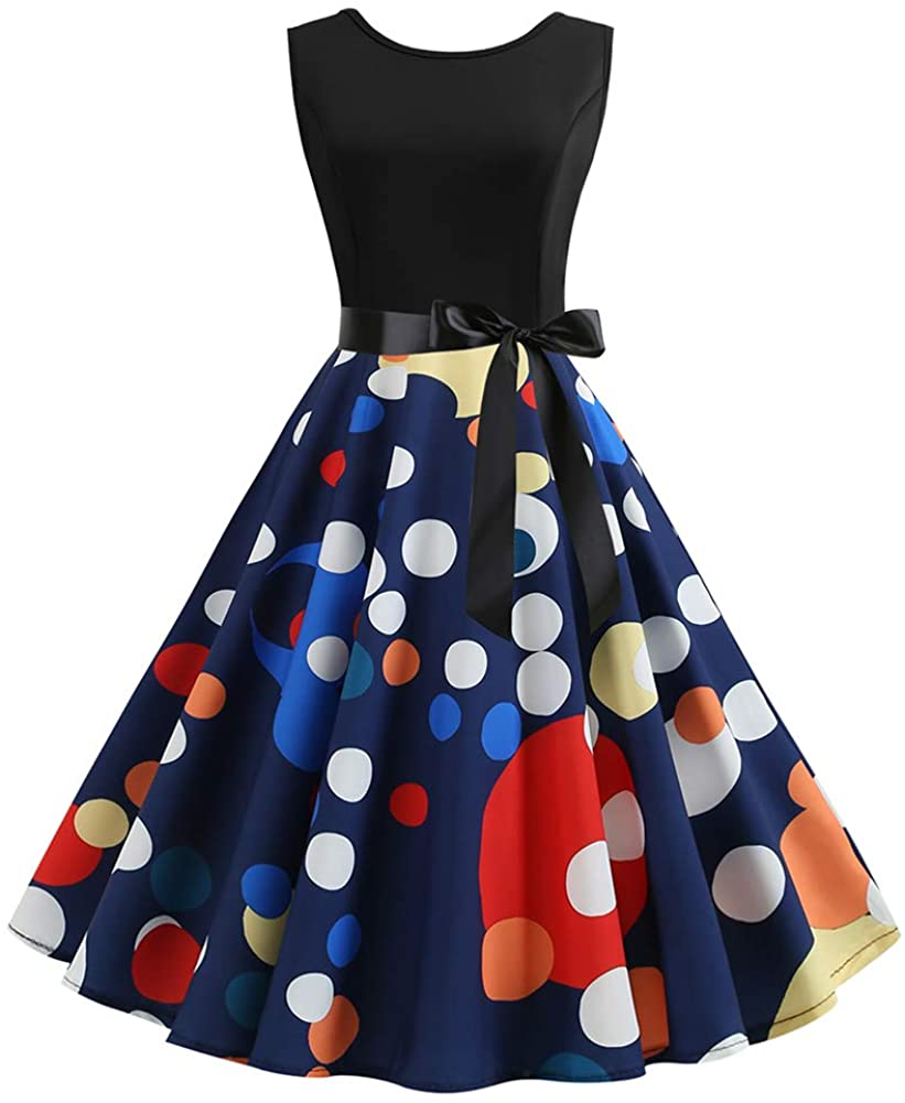 QZUnique Women's Retro 50s Audrey Hepburn Round Neck Sleeveless Printed Belted Swing Prom Party Cocktail Dress
