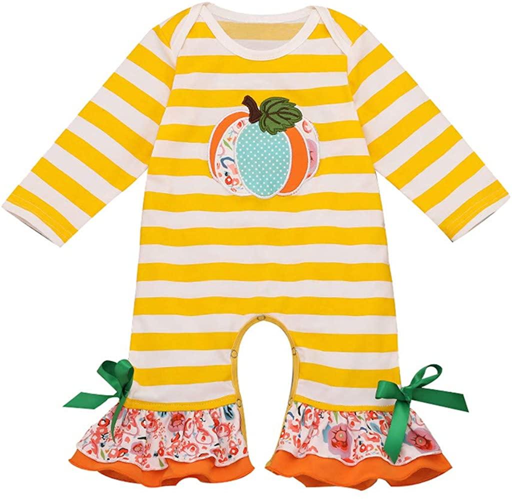 ZEFOTIM Halloween Baby Bodysuits, Toddler Baby Kids Girls Halloween Pumpkin Striped Ruched Jumpsuit Romper Clothes