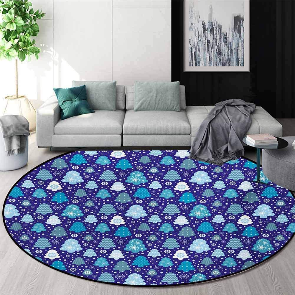 RUGSMAT Winter Modern Machine Round Bath Mat,Snowflakes and Silhouettes of Christmas Pine Trees Sweet Christmas Non-Slip No-Shedding Kitchen Soft Floor Mat,Round-71 Inch Violet Blue Pale Blue White