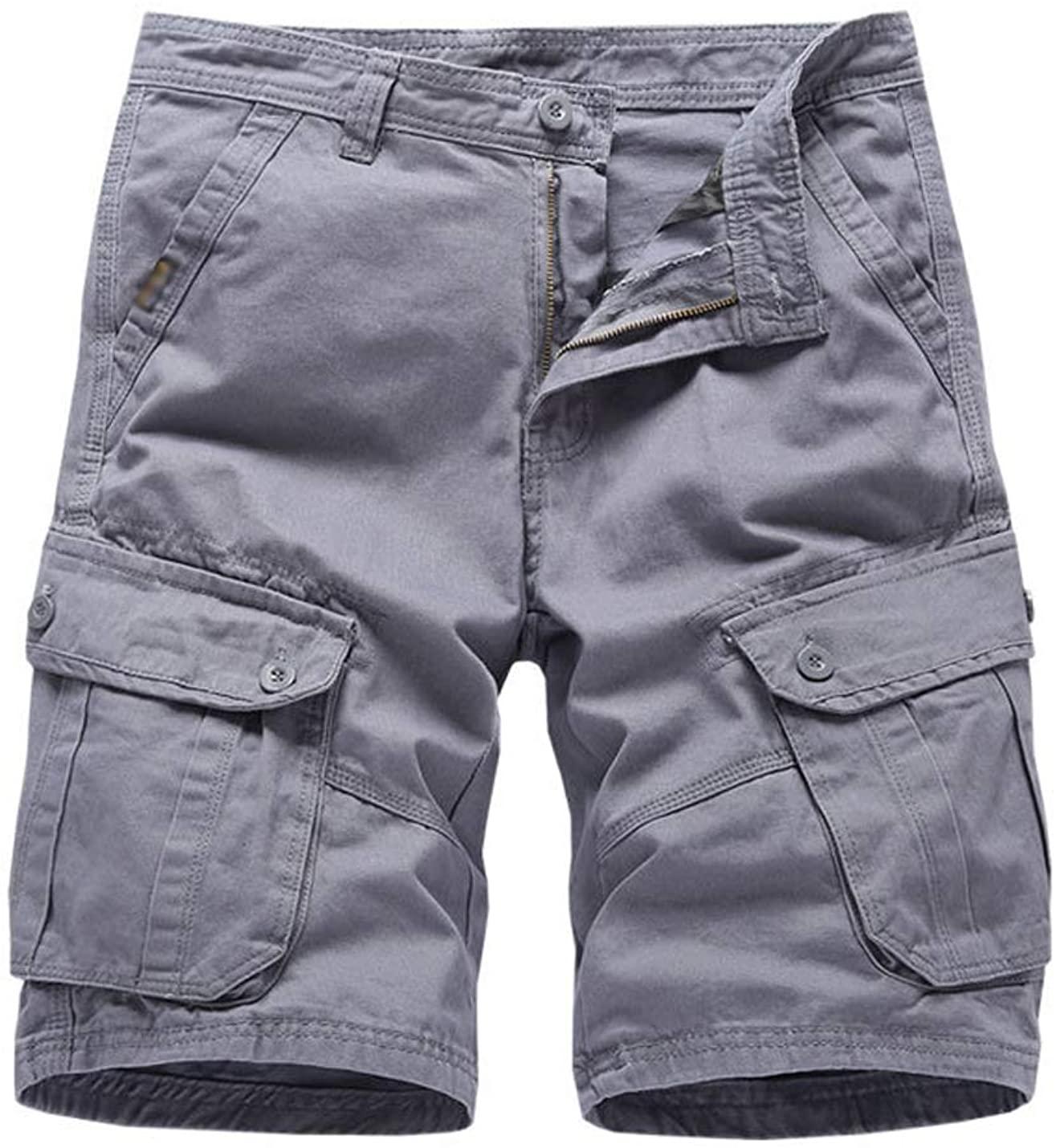 Hongsui Men's Summer Loose Overalls Multi-Pocket Shorts