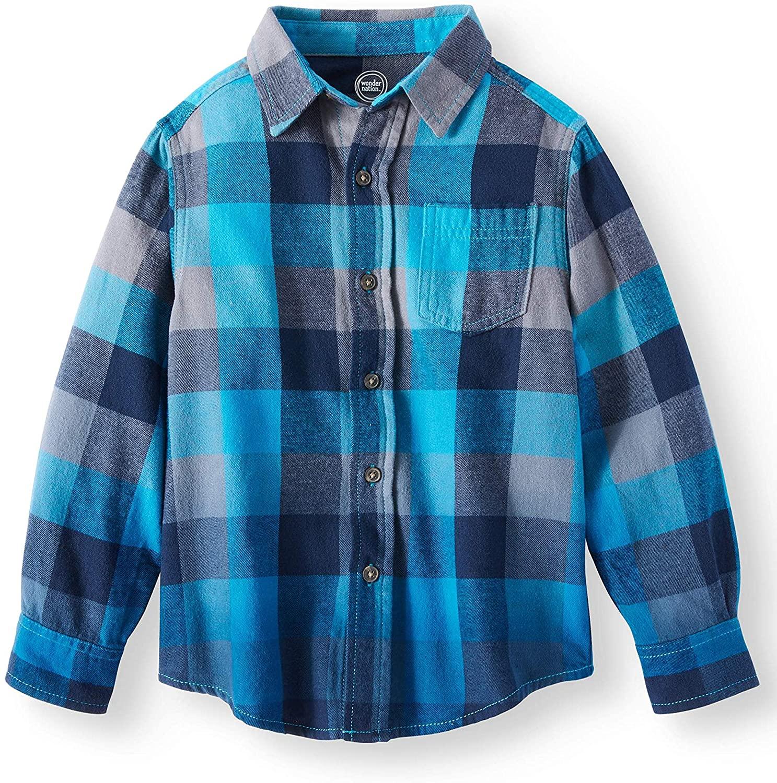 Boys Long Sleeve Button Down Plaid Flannel Shirt (X-Small (4/5), Hawaiian Ocean)