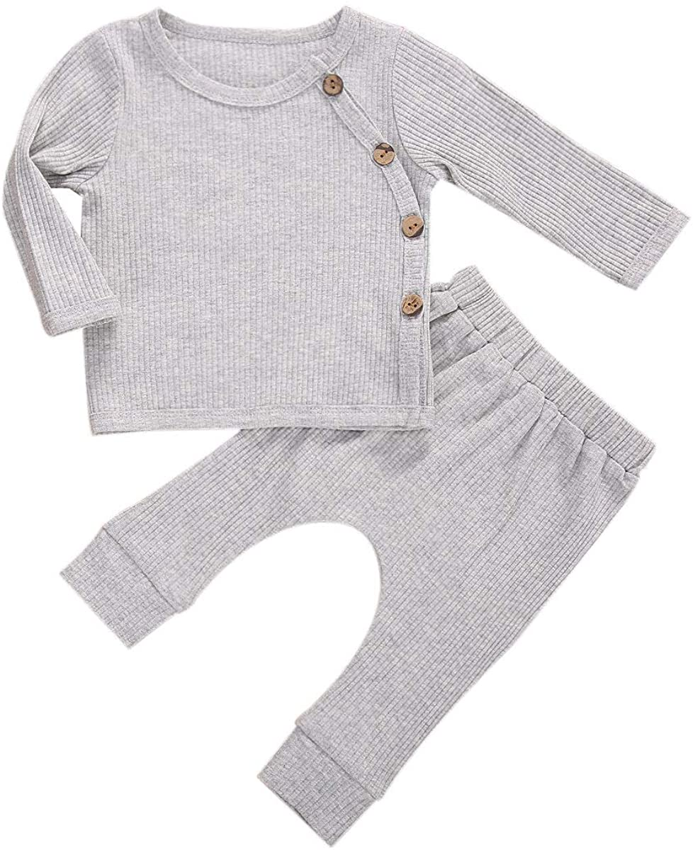 Baby Boy Girl Fall Winter Clothes Knit Long Sleeve Solid Color Romper Tops + Ribbed Pants Pajamas Sets 0-24M (Style 5-Grey Tops, 3-6 Months)