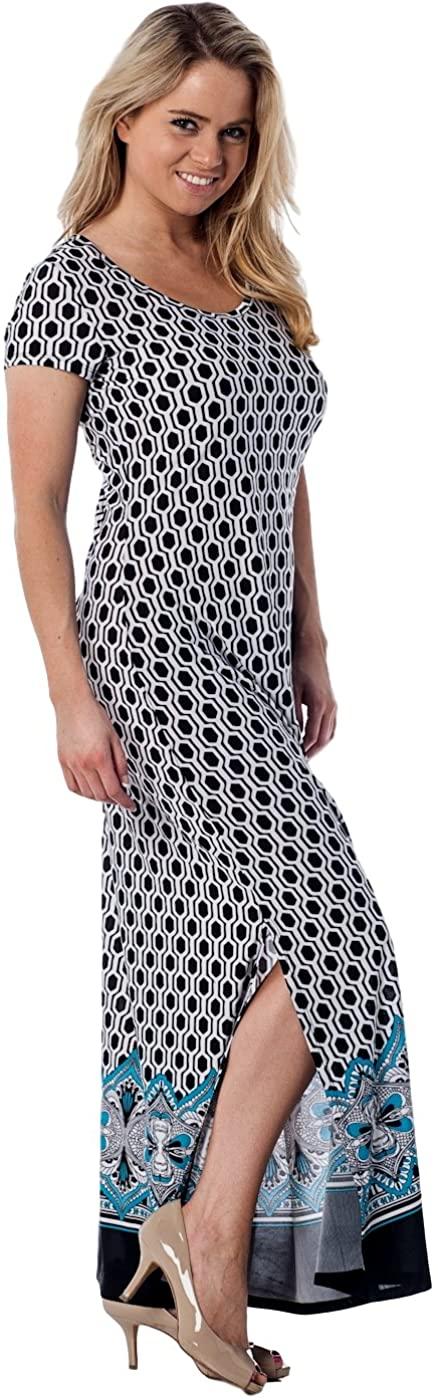 Alkii Womens Short Sleeve Floor Length Maxi Dress