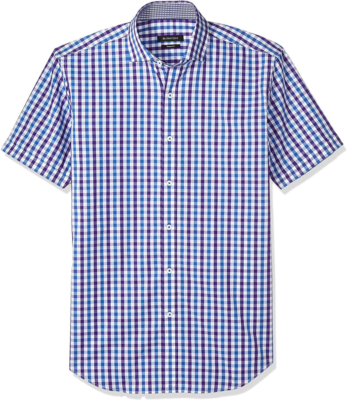Bugatchi Men's Gingham Jacquard Slim Fit Short Sleeve Shirt