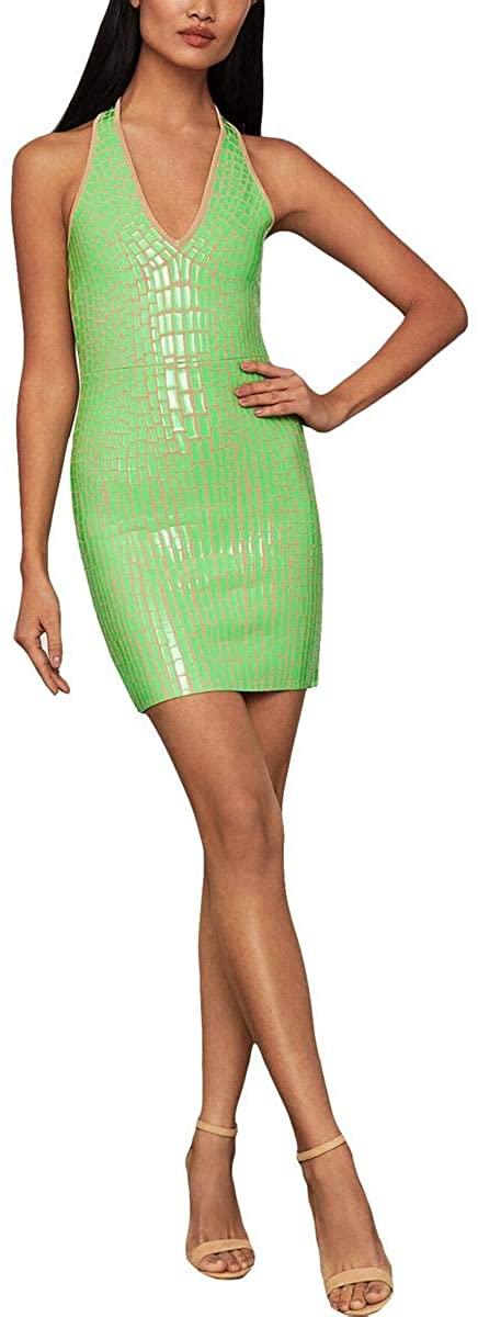 BCBGMAXAZRIA Womens Deep V-Neck Sweater Cocktail Dress