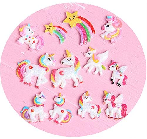 AMOBESTER Flatback Resin Charms Unicorn Decoden Embellishments for Crafts or Phonecover Scrapbooking