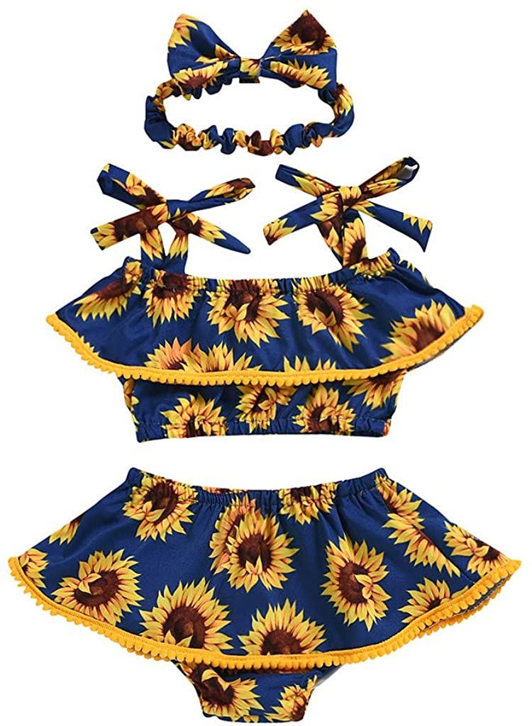 GLVSZ Baby Girl Outfits Strap Ruffle Tops +Sunflower Short Pants+Floral Headband 3PCS Baby Summer Clothing Set